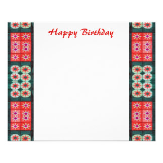 Happy Birthday Red Teal 11.5 Cm X 14 Cm Flyer