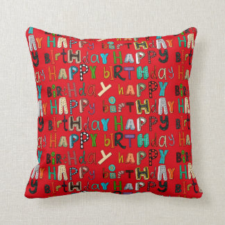 happy birthday red throw pillow