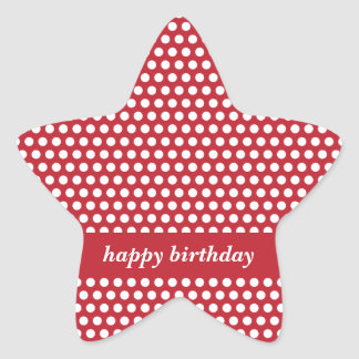 Happy birthday red & white polka dots stickers