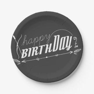 Happy Birthday Retro Scroll Fun Custom Chalkboard 7 Inch Paper Plate