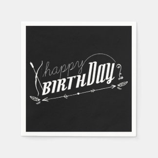 Happy Birthday Retro Scroll Fun Custom Chalkboard Paper Napkin