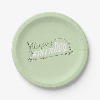 Happy Birthday Retro Scroll Fun Custom Mint White 7 Inch Paper Plate