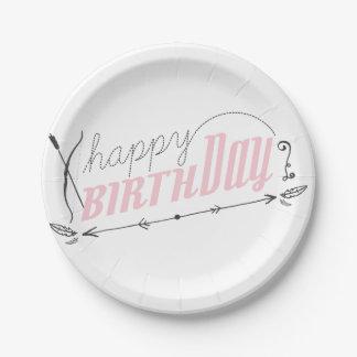Happy Birthday Retro Scroll Fun Custom Pink Girl 7 Inch Paper Plate