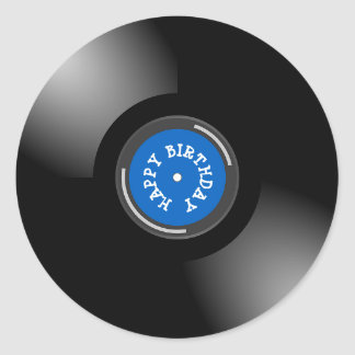 Happy Birthday Retro Vinyl Album Record Stickers