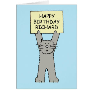 Happy Birthday Richard, cute cat. Card