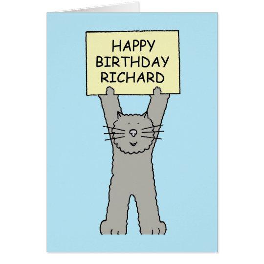 Happy Birthday Richard, cute cat. Card