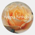 Happy Birthday, rose in peach Round Sticker