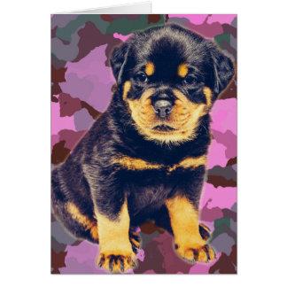 Happy Birthday Rottweiler on Pink Camo Card