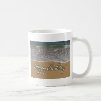 Happy Birthday Sand Beach Mugs