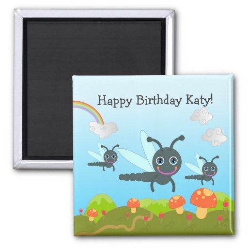 Happy Birthday says the dragonfly Refrigerator Magnets
