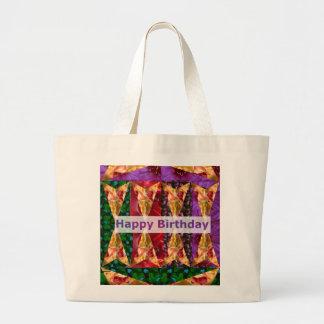 HAPPY Birthday Script Golden Flower Art Tote Bag