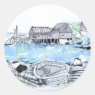happy birthday seascape round sticker