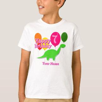 Happy Birthday Seven Party Balloon Green Dino Tee