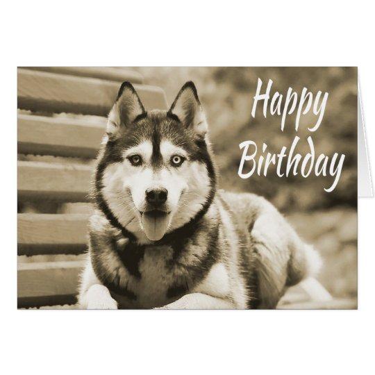 Happy Birthday Siberian Husky Puppy Dog Card