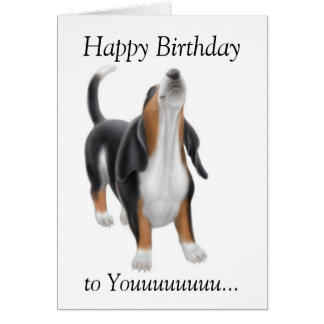 Happy Birthday Singing Basset Hound Dog Card