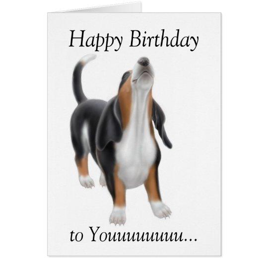 Happy Birthday Singing Basset Hound Dog Card