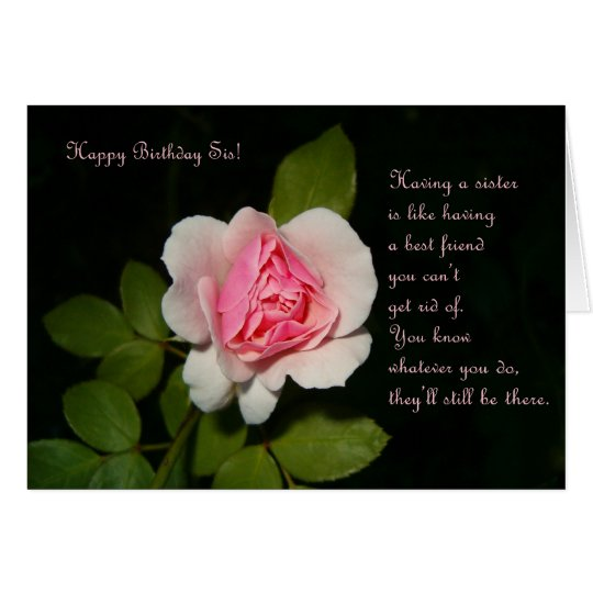 Happy Birthday Sis with Rose Card
