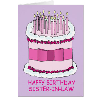 Happy Birthday sister-in-law, giant cake, Greeting Card