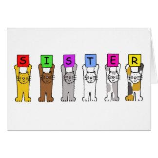 Happy Birthday Sister with cartoon cats. Card