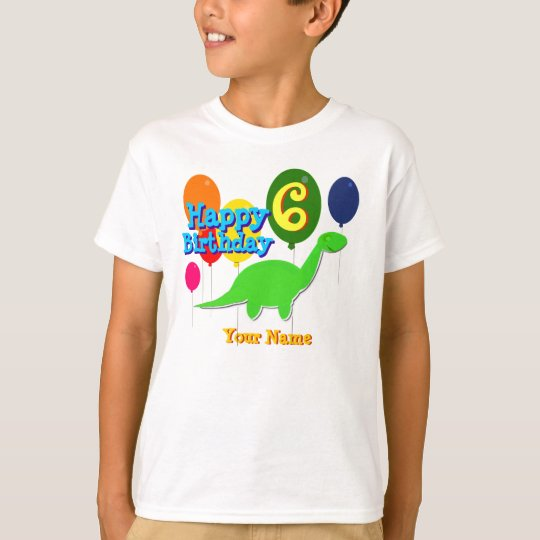 Happy Birthday Six Years Balloons Dinosaur T-Shirt