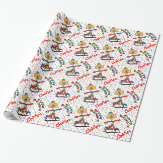 Happy Birthday Skating Clown   Personalize Wrapping Paper