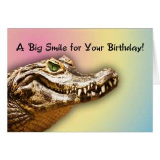 Happy Birthday smiling alligator card