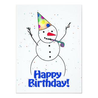 Happy Birthday  Snowman 17 Cm X 22 Cm Invitation Card