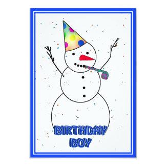 Happy Birthday  Snowman for Boy (Blue Trim) 13 Cm X 18 Cm Invitation Card