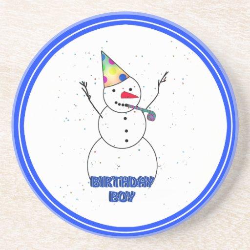 Happy Birthday  Snowman for Boy (Blue Trim) Coaster