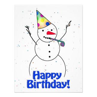 Happy Birthday  Snowman Invitation