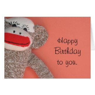 Happy Birthday Sock Monkey Greeting Card