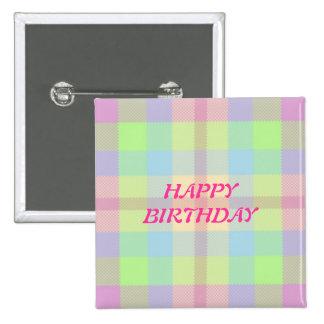 Happy Birthday Soft pastels Tartan 15 Cm Square Badge