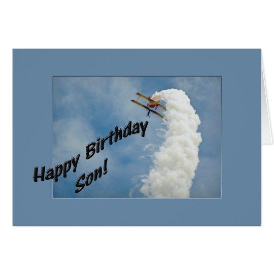 Happy Birthday Son Aeroplane Flying Upside Down Card