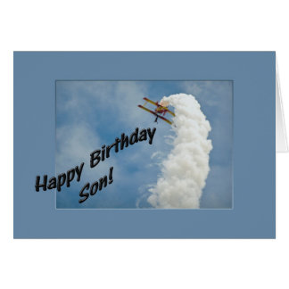 Happy Birthday Son Airplane Flying Upside Down Greeting Card