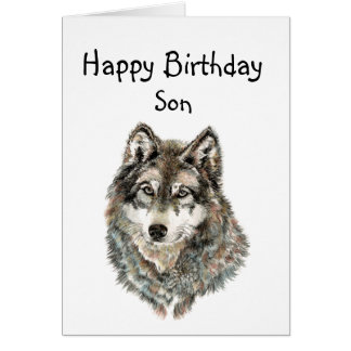 Happy Birthday Son Humor Wolf, Wolves Greeting Card