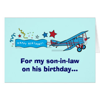 Happy Birthday Son-in-Law Airplane Greeting Card