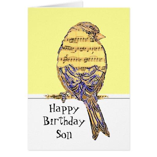 Happy Birthday Son Musician Fun Music Note Bird Cards