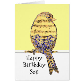 Happy Birthday Son Musician Fun Music Note Bird Greeting Card