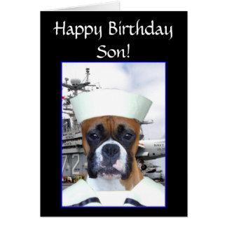 Happy birthday Son Navy Sailor Boxer Dog  card