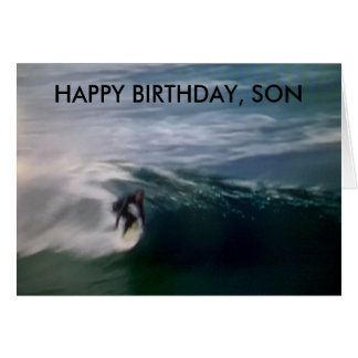 """HAPPY BIRTHDAY, SON"" (SURFING AT THE BEACH) CARD"