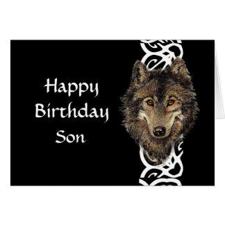 Happy Birthday Son Wild Grey Wolf Head Card
