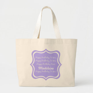 Happy Birthday Song on Blue Lilac Personalized Jumbo Tote Bag
