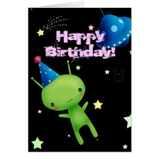 Happy Birthday Space Alien Greeting Card