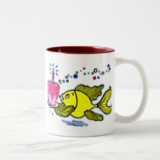 Happy Birthday, Sparky with a cake and candle cute Two-Tone Coffee Mug