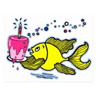 Happy Birthday, Sparky with a cake and candle Postcard