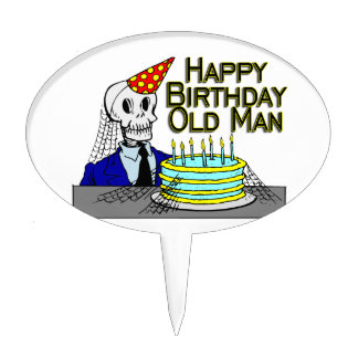 Happy Birthday Spider Web Old Man Cake Toppers