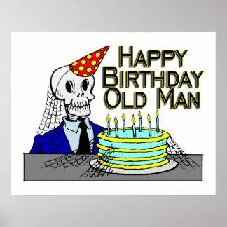 Happy Birthday Spider Web Old Man Poster