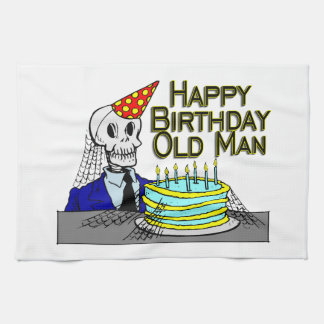 Happy Birthday Spider Web Old Man Tea Towel
