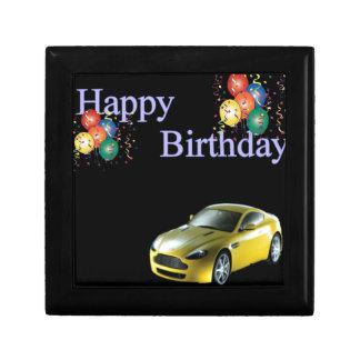 Happy Birthday Sports car design Small Square Gift Box