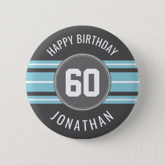 Happy Birthday Sports Jersey Stripes Name and Age 6 Cm Round Badge